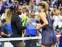 Serena Williams of the USA shakes hands with Maria Sharapova of Russia after their first round match on day one of the 2019 U.S. Open tennis tournament at USTA Billie Jean King National Tennis Center on August 27, 2019