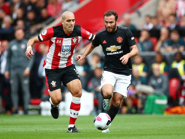 Manchester United's Juan Mata in action with Southampton's Oriol Romeu in the Premier League on August 31, 2019