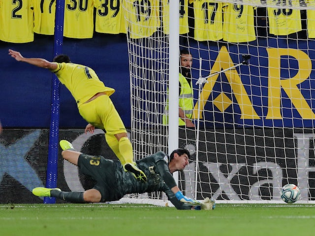 Villarreal forward Gerard Moreno scores against Real Madrid in La Liga on September 1, 2019