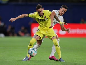 Villarreal's Xavier Quintilla in action with Real Madrid's Lucas Vazquez in La Liga on September 1, 2019