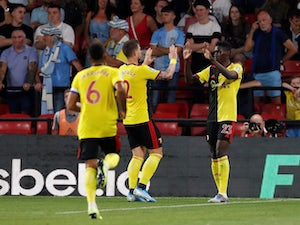 Watford's Ismaila Sarr celebrates scoring their first goal with team mates on August 27, 2019