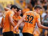 Wolverhampton Wanderers' Raul Jimenez celebrates scoring their first goal with teammates on August 25, 2019