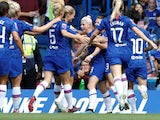 Bethany England celebrates with Chelsea teammates after scoring on September 8, 2019