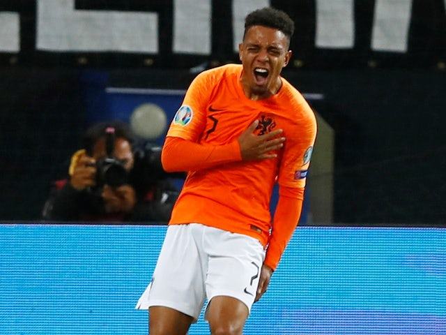 Donyell Malen celebrates scoring for the Netherlands on September 6, 2019