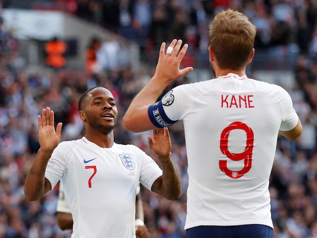 England duo Harry Kane and Raheem Sterling celebrate during the Euro 2020 qualifier against Bulgaria on September 7, 2019