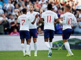 England players celebrate Harry Kane's goal against Bulgaria in their Euro 2020 qualifier on September 7, 2019