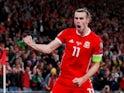 Gareth Bale celebrates scoring for Wales on September 6, 2019