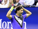 Grigor Dimitrov of Bulgaria wins the quarterfinal match against Roger Federer of Switzerland on day nine of the 2019 US Open tennis tournament at USTA Billie Jean King National Tennis Center on September 4, 2019