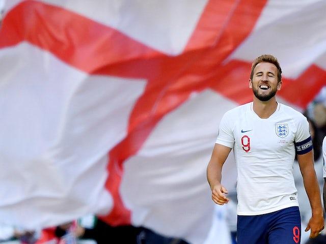 Harry Kane celebrates scoring for England on September 7, 2019