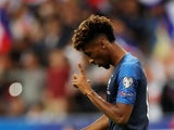 Kingsley Coman celebrates scoring for France on September 7, 2019