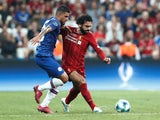 Liverpool's Mohamed Salah in action with Chelsea's Emerson Palmieri in the UEFA Super Cup on August 14, 2019