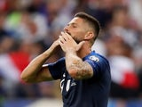 Olivier Giroud celebrates scoring for France on September 7, 2019
