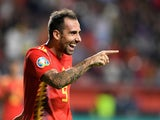 Paco Alcacer celebrates scoring for Spain on September 8, 2019