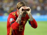 Spain's Sergio Ramos celebrates scoring their first goal on September 5, 2019