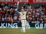 Australia's Steve Smith celebrates his century on September 5, 2019