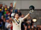 Australia's Steve Smith celebrates reaching 200 runs on September 5, 2019