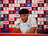 Tyrone Mings pictured in an England press conference on September 4, 2019