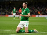 Alan Browne celebrates scoring for Ireland on September 10, 2019