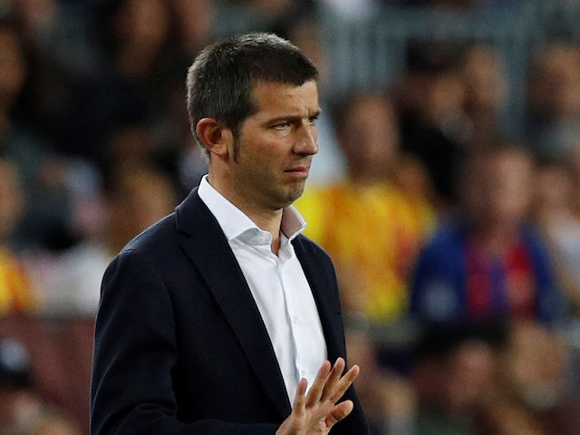 Valencia coach Albert Celades gestures on September 14, 2019