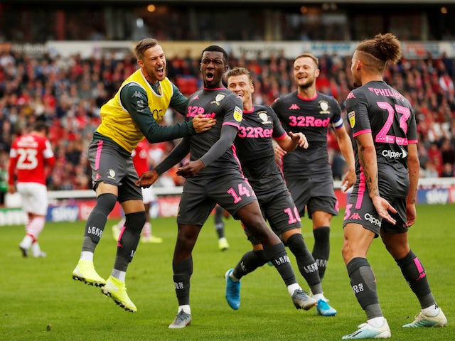 Eddie Nketiah celebrates scoring for Leeds United on September 15, 2019