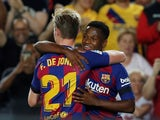 Barcelona's Frenkie de Jong celebrates scoring their second goal with Anssumane Fati on September 14, 2019