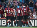 Bournemouth players celebrate their third goal against Everton on September 15, 2019
