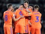 Cardiff City's Robert Glatzel celebrates scoring their first goal with team mates on September 13, 2019