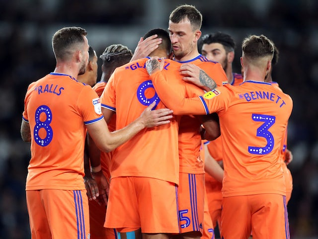 Cardiff City's Robert Glatzel celebrates scoring their first goal with team mates on September 13, 2019