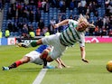 Rangers' Jordan Jones fouls Celtic's Moritz Bauer and is subsequently sent off by referee Bobby Madden on September 1, 2019