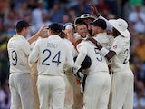 Joe Root celebrates with teammates after taking a catch to dismiss Australia's Josh Hazlewood to give England victory in the fifth test on September 15, 2019