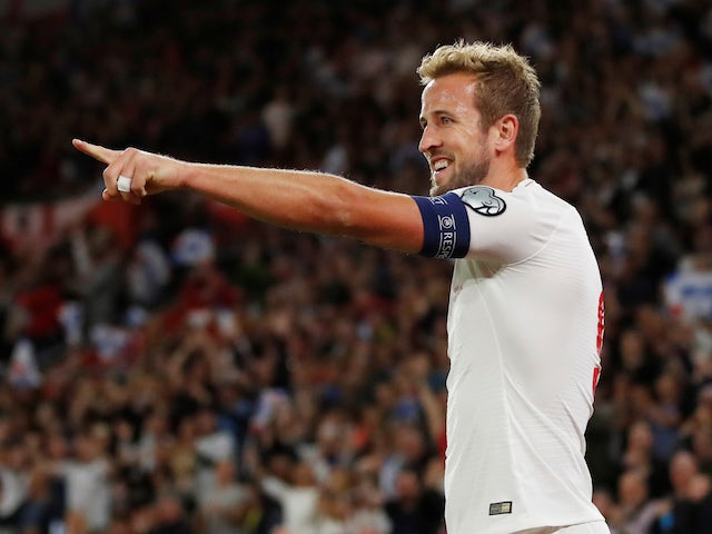 England's Harry Kane celebrates scoring their second goal on September 10, 2019