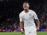 England's Jadon Sancho celebrates scoring their fourth goal against Kosovo on September 10, 2019