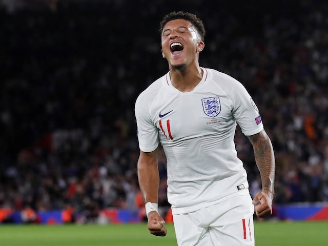 England's Jadon Sancho celebrates scoring their fourth goal against Kosovo on September 10, 2019