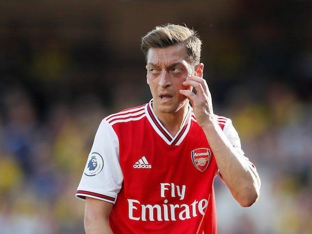 Mesut Ozil in action during the Premier League game between Watford and Arsenal on September 15, 2019