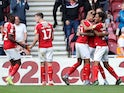 Middlesbrough's Marvin Johnson celebrates scoring their first goal with team mates on September 14, 2019