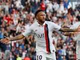 Neymar celebrates scoring for PSG on September 14, 2019