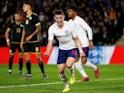 England U21's Phil Foden celebrates scoring their first goal on September 9, 2019