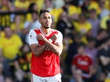 Pierre-Emerick Aubameyang celebrates scoring his second during the Premier League game between Watford and Arsenal on September 15, 2019