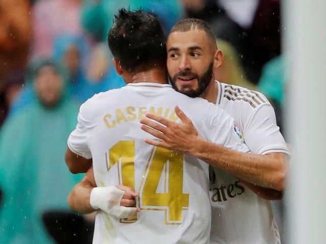 Real Madrid forward Karim Benzema celebrates scoring against Levante in La Liga on September 14, 2019