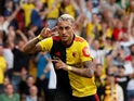 Roberto Pereyra celebrates scoring during the Premier League game between Watford and Arsenal on September 15, 2019