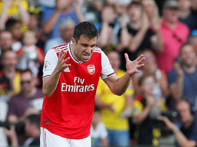 A frustrated Sokratis Papastathopoulos during the Premier League game between Watford and Arsenal on September 15, 2019