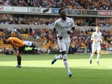 Chelsea's Tammy Abraham celebrates scoring against Wolverhampton Wanderers in the Premier League on September 14, 2019.