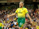 Teemu Pukki celebrates scoring during the Premier League game between Norwich City and Manchester City on September 14, 2019