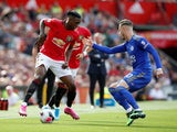 Manchester United's Aaron Wan-Bissaka in action with Leicester City's James Maddison in the Premier League on September 14, 2019