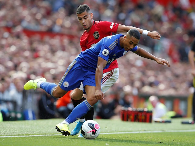 Manchester United's Andreas Pereira in action with Leicester City's Youri Tielemans in the Premier League on September 14, 2019