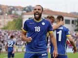 Vedat Muriqi celebrates scoring on September 7, 2019