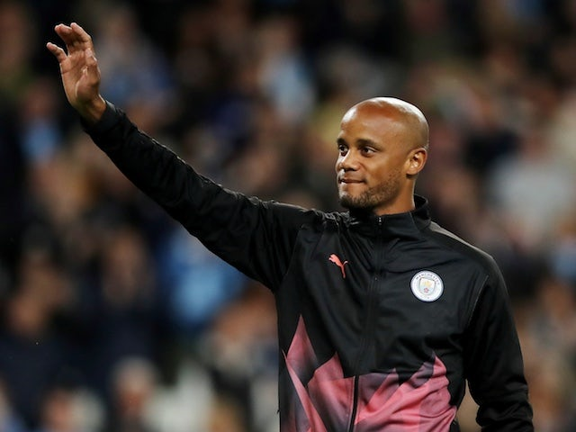 Vincent Kompany waves during his testimonial on September 11, 2019