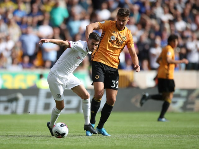 Jorginho and Leander Dendoncker compete for the ball as Wolverhampton Wanderers face Chelsea on September 14, 2019.