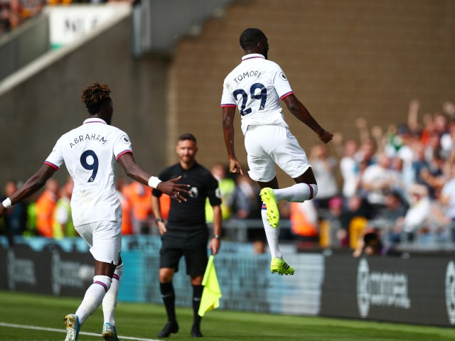 Fikayo Tomori celebrates scoring the goal of the season for Chelsea against Wolverhampton Wanderers on September 14, 2019.