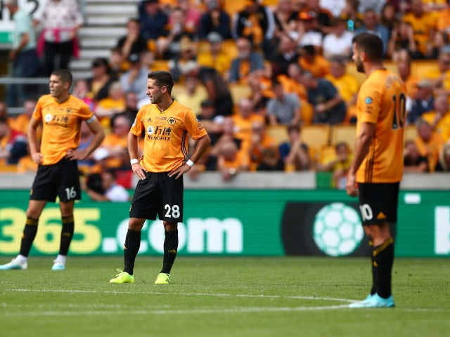 Wolverhampton Wanderers look dejected after conceding a fourth goal against Chelsea on September 14, 2019.